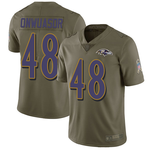 Men's Patrick Onwuasor Olive Limited Football Jersey: Baltimore Ravens #48 2017 Salute to Service  Jersey