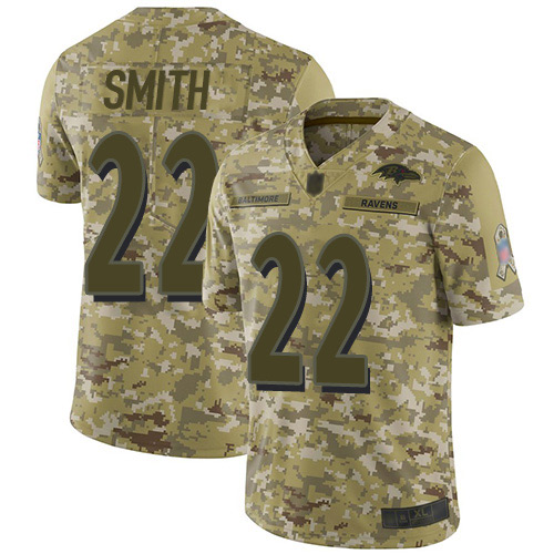 Youth Jimmy Smith Camo Limited Football Jersey: Baltimore Ravens #22 2018 Salute to Service  Jersey