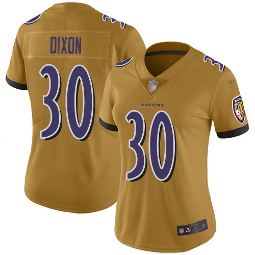Women's Kenneth Dixon Ash One Color Football : Baltimore Ravens #30 Pullover Hoodie
