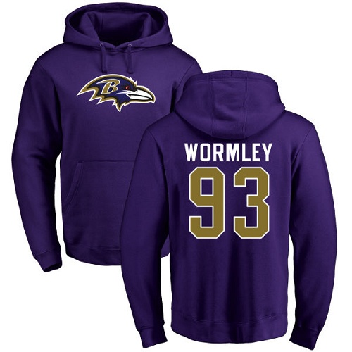 Chris Wormley Purple Name & Number Logo Football : Baltimore Ravens #93 Pullover Hoodie