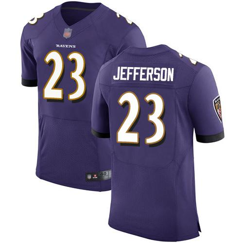 Men's Tony Jefferson Purple Home Elite Football Jersey: Baltimore Ravens #23  Jersey
