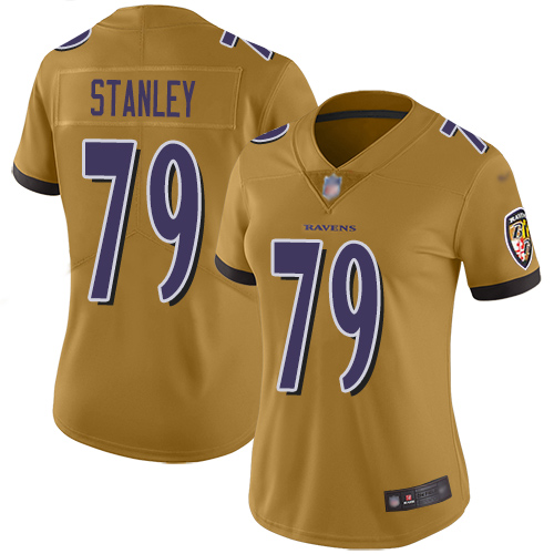 Women's Ronnie Stanley Ash One Color Football : Baltimore Ravens #79 Pullover Hoodie