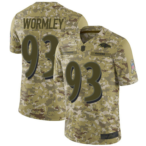 Youth Chris Wormley Camo Limited Football Jersey: Baltimore Ravens #93 2018 Salute to Service  Jersey