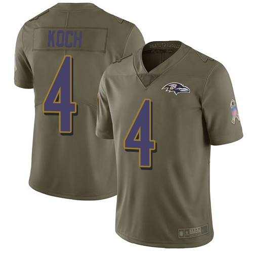 Youth Sam Koch Olive Limited Football Jersey: Baltimore Ravens #4 2017 Salute to Service  Jersey