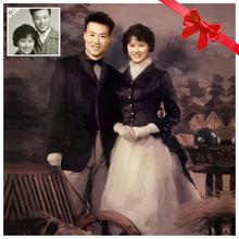送父母金婚纪念创意礼物 创意老照片翻新 纯手绘肖像油画定制