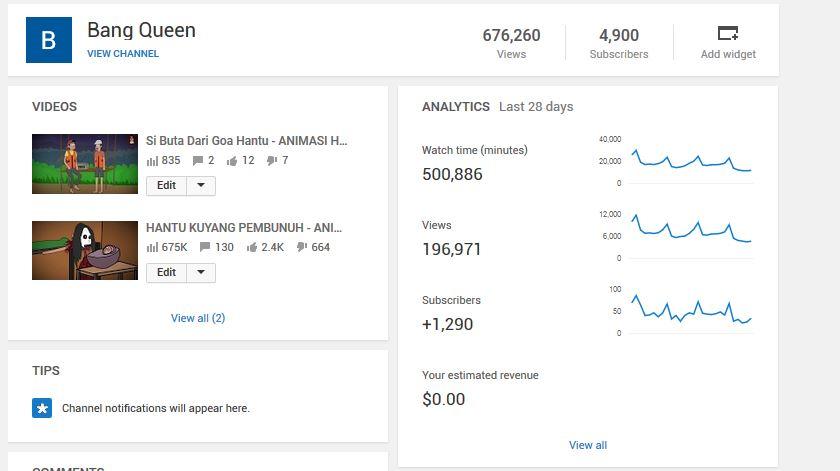 Jual Akun Youtube Konten Animasi Subscriber 4900 Murni