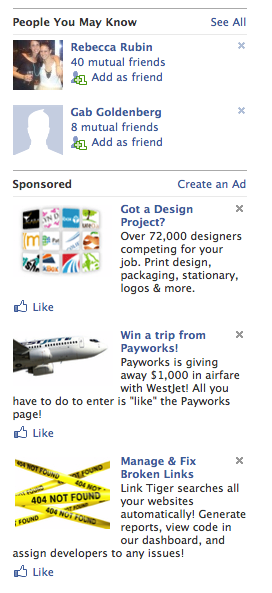 Facebook integrates thumbnails and pictures above its ads to boost the CTR on its ads.