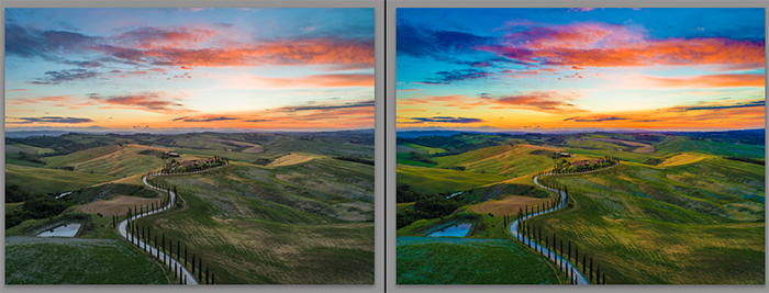 Diptych showing what is vibrance and how it effects landscape photography