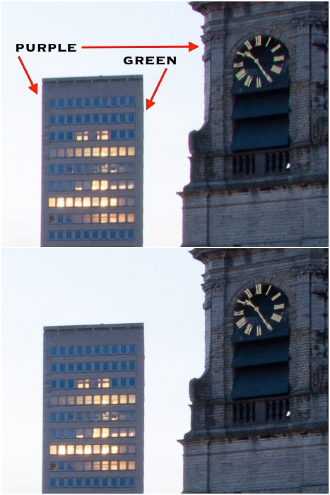 Diptych comparing photos of a clocktower with chromatic Aberration