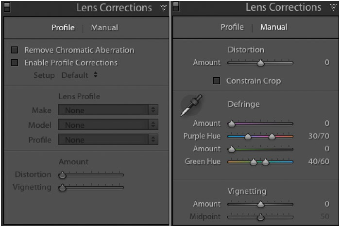 Screenshot of Chromatic Aberration Removal in Lightroom develop module