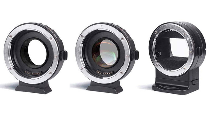 Three different lens mounts on white background