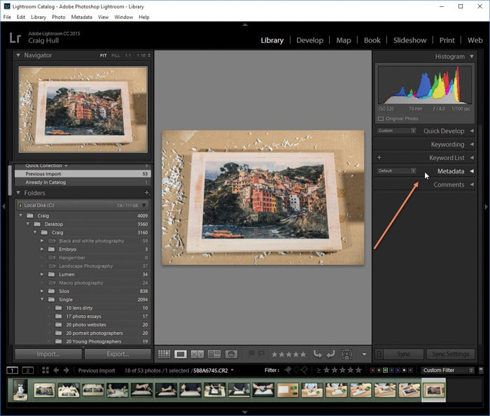 A screenshot of how to view EXIF data of a photo on Lightroom