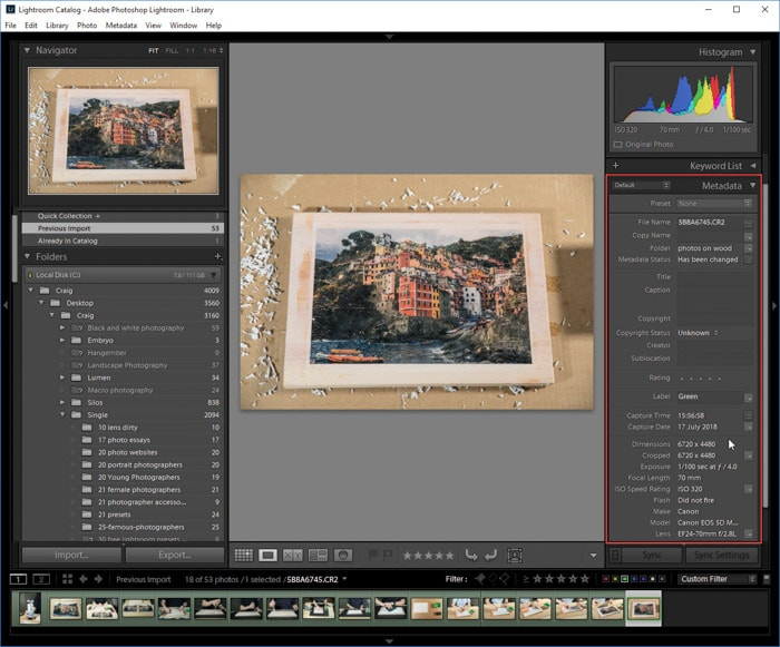 A screenshot of viewing EXIF data of a photo on Lightroom