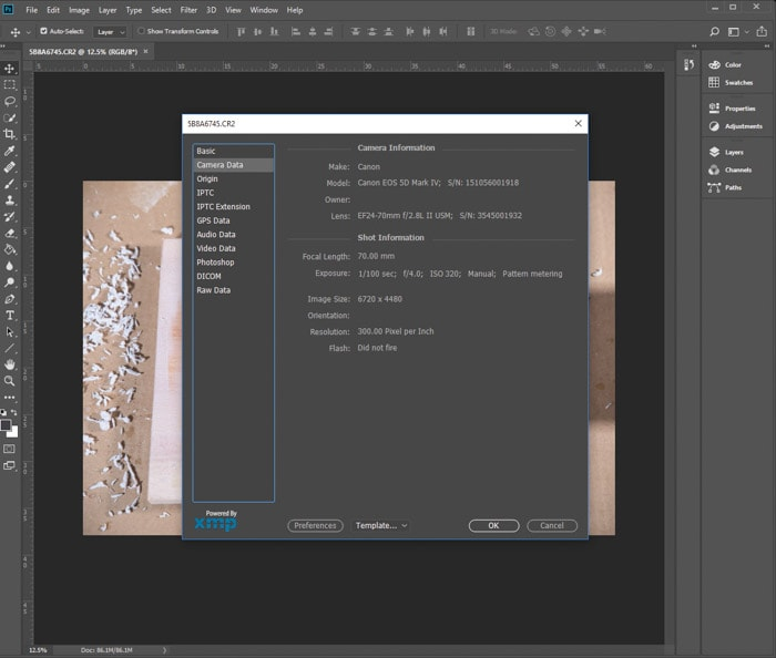 A screenshot of viewing the EXIF data of a photo on Photoshop