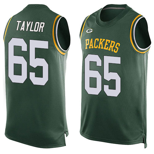 Men's Lane Taylor Green Limited Football Jersey: Green Bay Packers #65 Player Name & Number Tank Top  Jersey