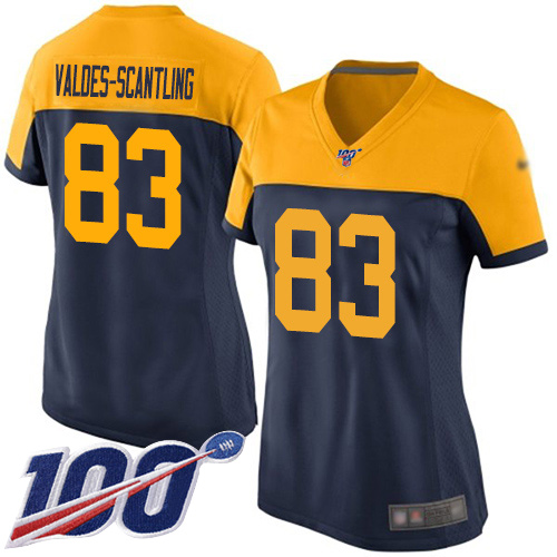 Women's Marquez Valdes-Scantling Navy Blue Alternate Limited Football Jersey: Green Bay Packers #83 100th Season  Jersey
