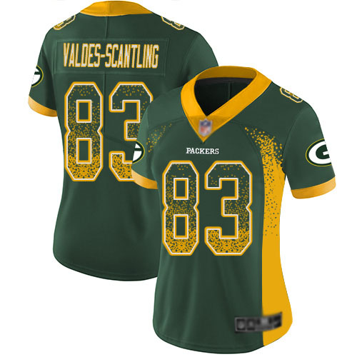 Women's Marquez Valdes-Scantling Green Limited Football Jersey: Green Bay Packers #83 Rush Drift Fashion  Jersey