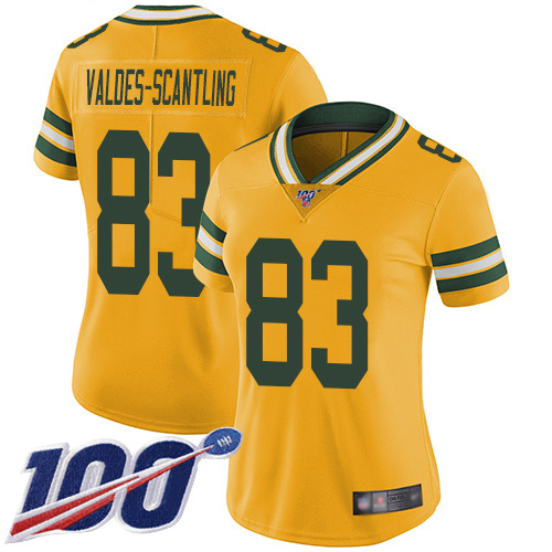 Women's Marquez Valdes-Scantling Gold Limited Football Jersey: Green Bay Packers #83 100th Season Rush Vapor Untouchable  Jersey