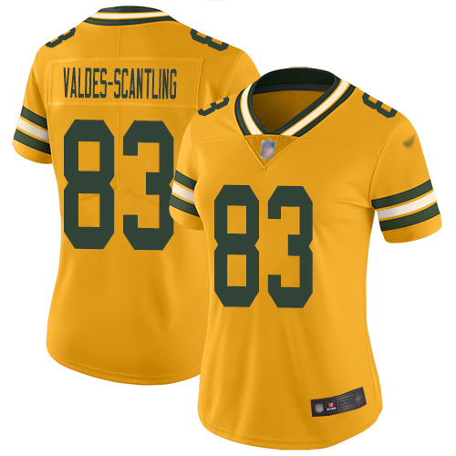 Women's Marquez Valdes-Scantling Gold Limited Football Jersey: Green Bay Packers #83 Inverted Legend  Jersey