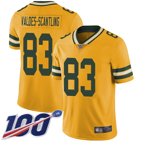 Men's Marquez Valdes-Scantling Gold Limited Football Jersey: Green Bay Packers #83 100th Season Rush Vapor Untouchable  Jersey