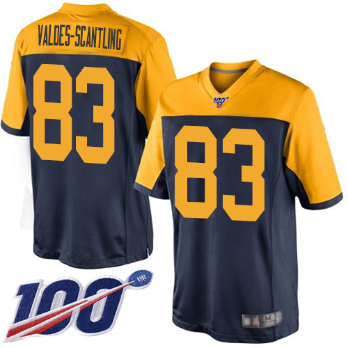 Men's Marquez Valdes-Scantling Navy Blue Alternate Limited Football Jersey: Green Bay Packers #83 100th Season  Jersey