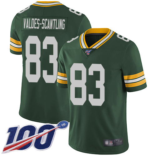 Men's Marquez Valdes-Scantling Green Home Limited Football Jersey: Green Bay Packers #83 100th Season Vapor Untouchable  Jersey