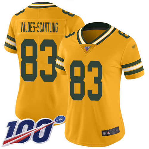 Women's Marquez Valdes-Scantling Gold Limited Football Jersey: Green Bay Packers #83 100th Season Inverted Legend  Jersey