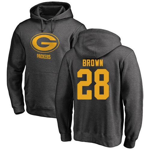 Tony Brown Ash One Color Football : Green Bay Packers #28 Pullover Hoodie