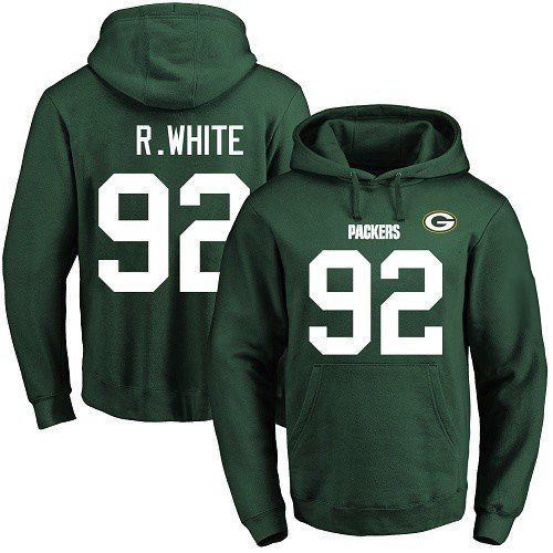 Football Men's  Green Bay Packers #92 Reggie White Green Name & Number Pullover Hoodie