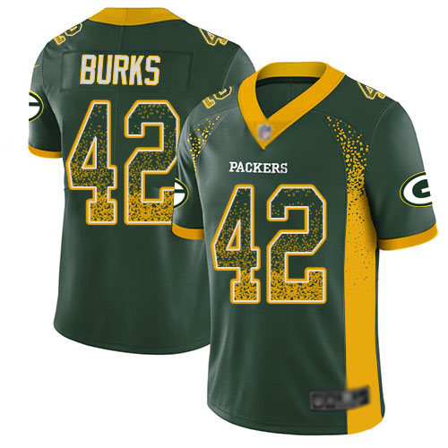 Youth Oren Burks Green Limited Football Jersey: Green Bay Packers #42 Rush Drift Fashion  Jersey