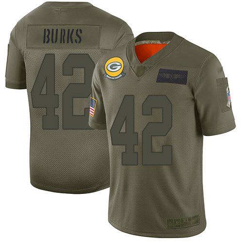 Men's Oren Burks Green Limited Football Jersey: Green Bay Packers #42 Salute to Service Tank Top  Jersey