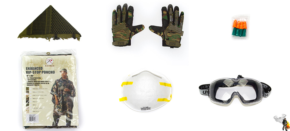 Bug out bag personal protective equipment on white background