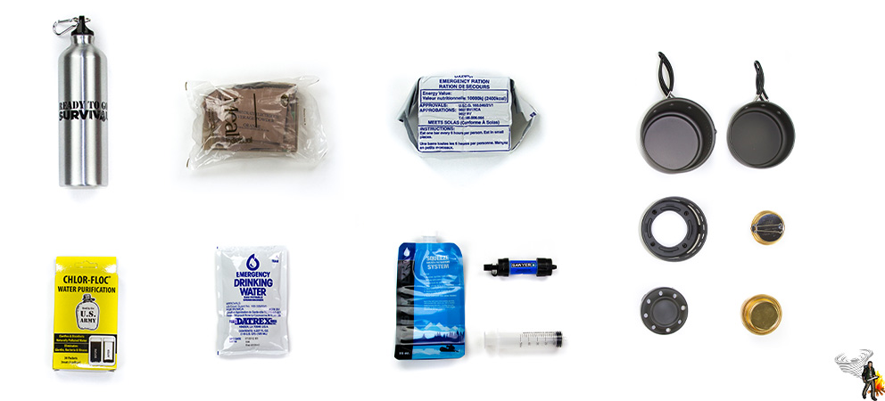 Emergency food and water module on white background