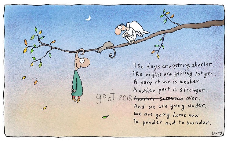 a poem by leunig about going home to ponder.