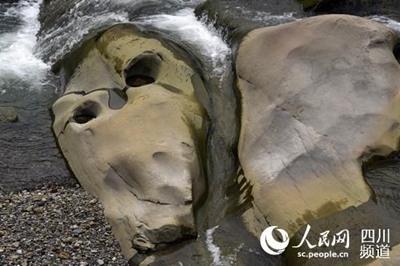 河中惊现头骨奇石