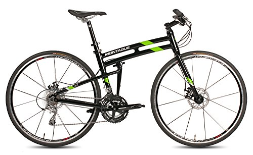 New Montague Fit Folding 700c Pavement Hybrid Bike Gloss Black/Green 19""