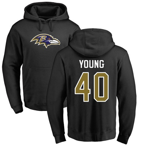 Kenny Young Black Name & Number Logo Football : Baltimore Ravens #40 Pullover Hoodie