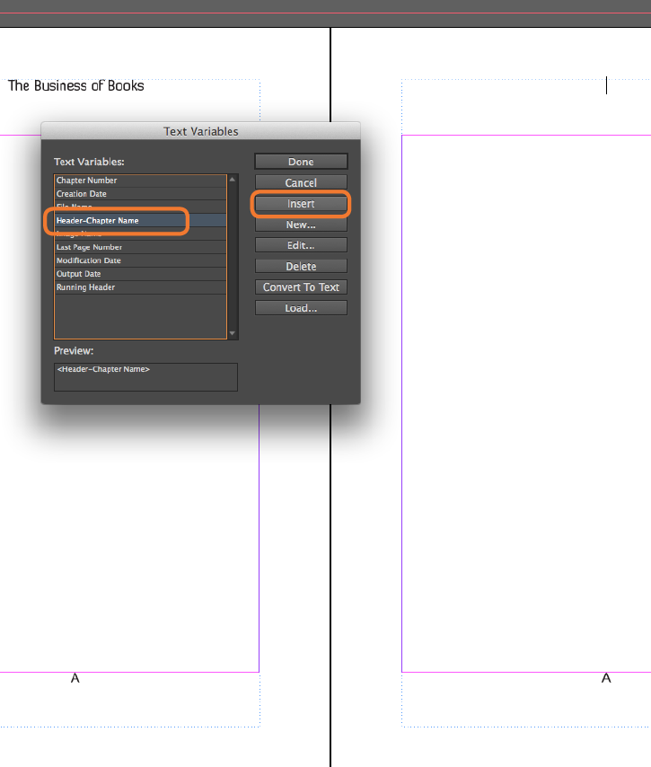 InDesign Master Pages Chapter Title Headers - Example