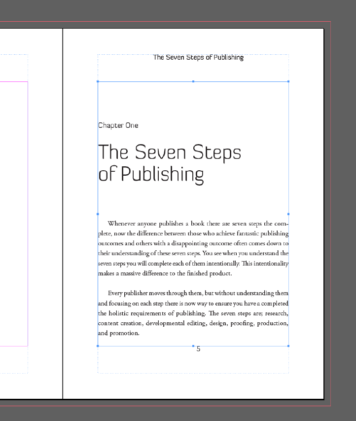 InDesign Master Pages Chapter Title Headers Example Three