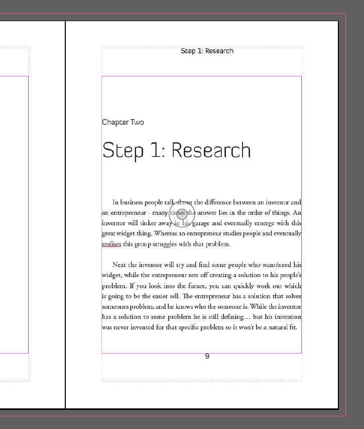 InDesign Master Pages Chapter Title Headers Example Four