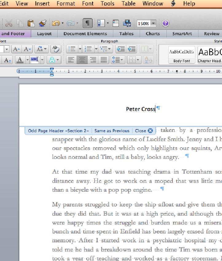 Word Header Editing