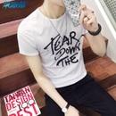 2016夏装新款短袖T恤男纯棉圆领印花日系韩版修身半袖体恤衫夏季