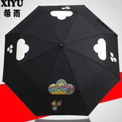 希雨 变色韩国雨伞女折叠三折伞创意超轻自动雨伞黑胶超大长柄伞