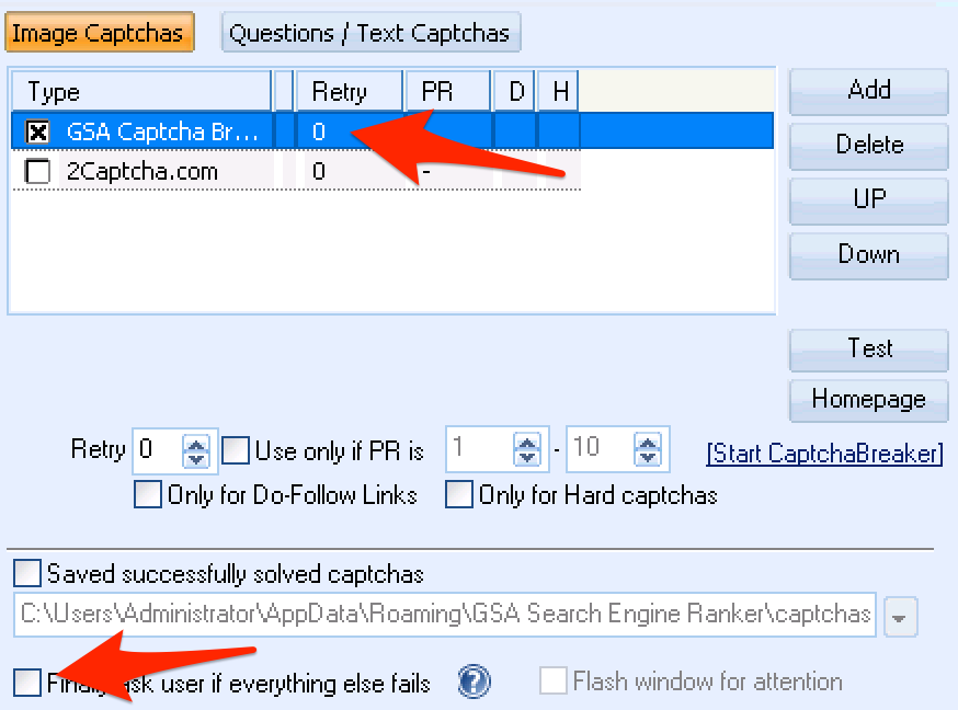 GSA Search Engine Ranker Captcha Settings For Speed