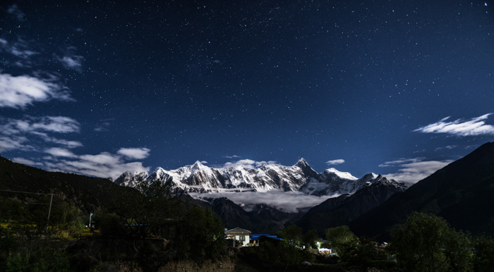 A dark image of a mountain range - Wide Angle focal length examples