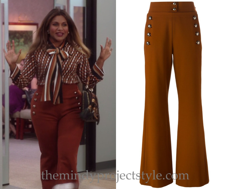 "Mindy's buttoned flares from ""My Kid Stays in the Picture""! Chloe Buttoned Flare Trousers Worn with Michael Kors top"