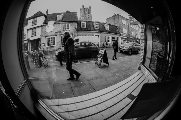 A black and white image of a street - Ultra Wide Angle focal length examples