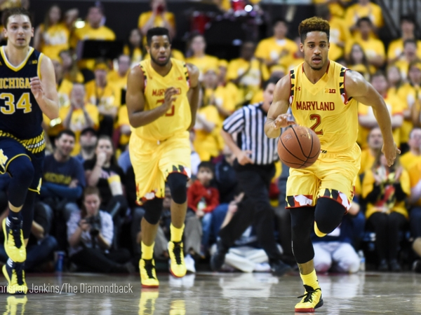 <p>Guard Melo Trimble sprints up the court on a fast break as the Terps defeated Michigan, 86-82, at Xfinity Center on Feb. 21, 2016. (Christian Jenkins/The Diamondback)</p>