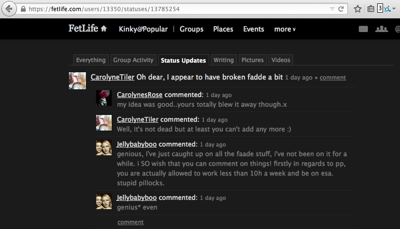 """A screenshot showing a FetLife user called CarolynesTiler boasting about being the person who """"broke"""" the Predator Alert Tool for FetLife (formerly known as FAADE) consent violation reporting system."""