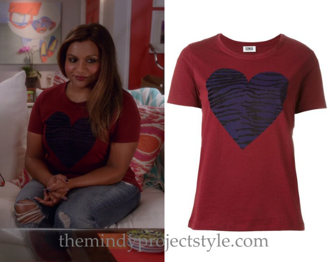 """Mindy's tiger-striped heart print tee from """"The Greatest Date in the World""""! Sonia by Sonia Rykiel Heart Tiger T-Shirt - $94 (in Indigo/Brownie, also here)"""